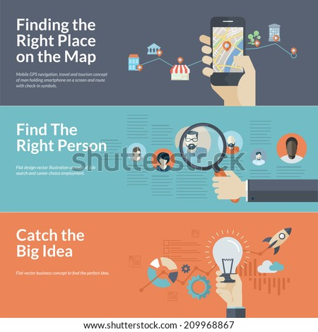 Set of flat design concepts for mobile GPS navigation, career, and business. Concepts for Finding the right place on the map for travel and tourism, employee selection, big idea in business.