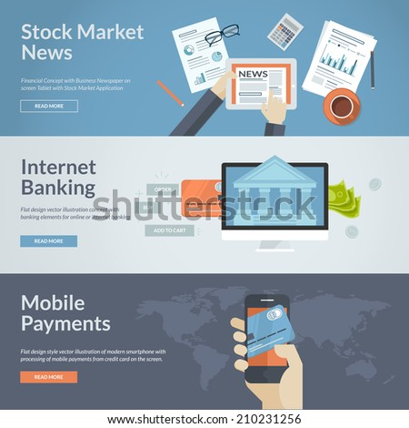 Set of flat design concepts for stock market news, internet banking and mobile payments. Concepts for web banners and printed materials. - stock vector