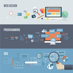 Set of flat design concepts for web development. Concepts for web design, programming and SEO.