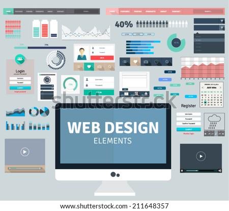 Set of flat design concepts for website pages, social media, online communication. Web design elements.