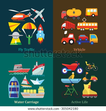 Set of flat design concepts of various transport use, including transportation by air, by water, wheeled vehicle use and sport activities on colored background