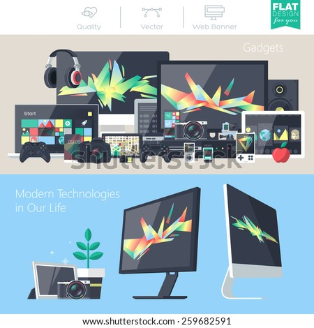 Set of flat design gadgets, electronic devices, mobile phone communications. Design items for business, website design app, promotional materials, web and mobile banners.
