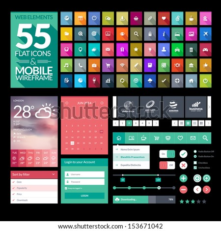 Set of flat design icons, elements, widgets. Template for mobile app and website design