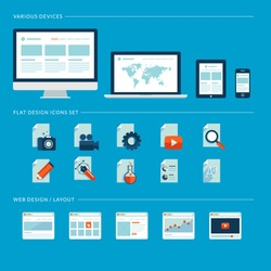Set of flat design icons for web and mobile phone services and apps. Icons for web design development, web page design layouts, various devices.