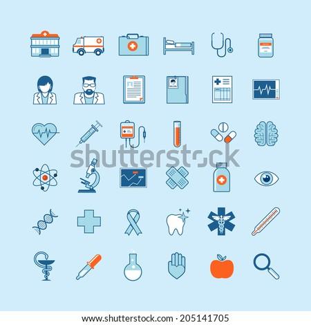 Set of flat design icons on medicine theme.