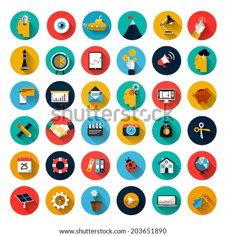 Set of flat design icons with long shadow for Business, SEO and Social media marketing. Vector