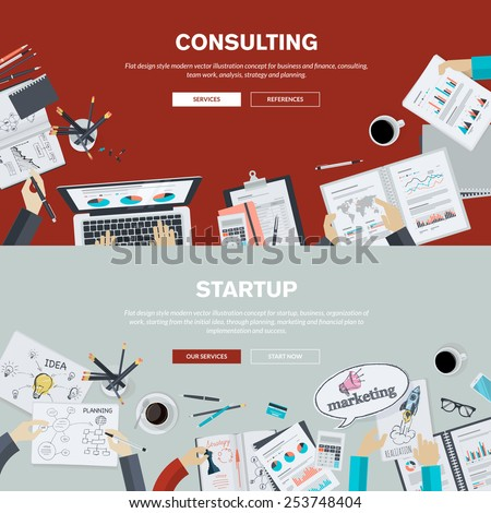 Set of flat design illustration concepts for business, finance, consulting, management, team work, analysis, strategy and planning, startup. Concepts for web banner and printed materials.