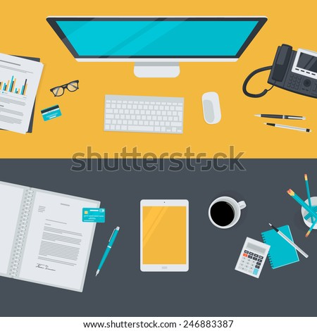 Set of flat design illustration concepts for business, finance, e-commerce. Concepts for web banners and promotional materials.