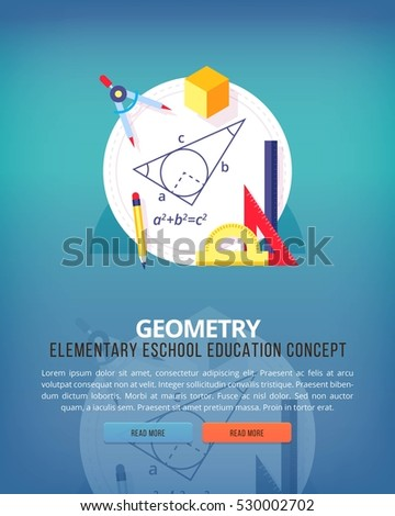 Set of flat design illustration concepts for geometry Education and knowledge ideas. Mathematic science. Concepts for web banner and promotional material