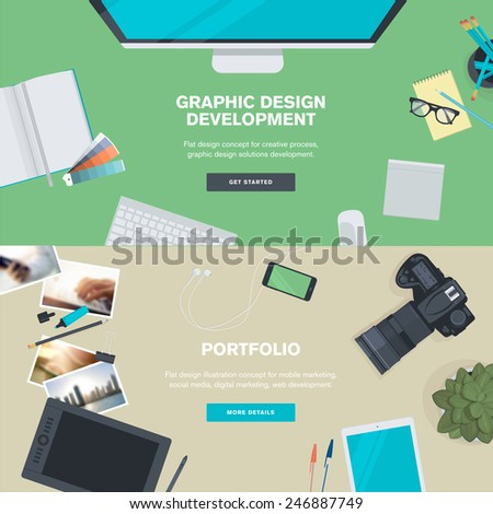 Set of flat design illustration concepts for graphic design development and portfolio. Concepts for web banners and promotional materials.