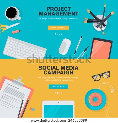 Set of flat design illustration concepts for project management and social media campaign. Concepts for web banners and promotional materials.