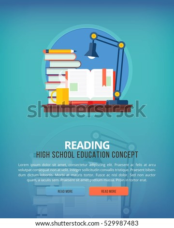 Set of flat design illustration concepts for reading. Education and knowledge ideas.