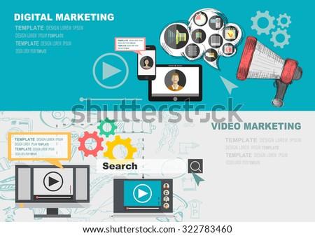 Set Banners For Design Digital Marketing Royalty Vector