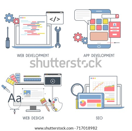 Set Of Flat Design Of Web Development, App Development, Web Design And SEO. Concept Style.