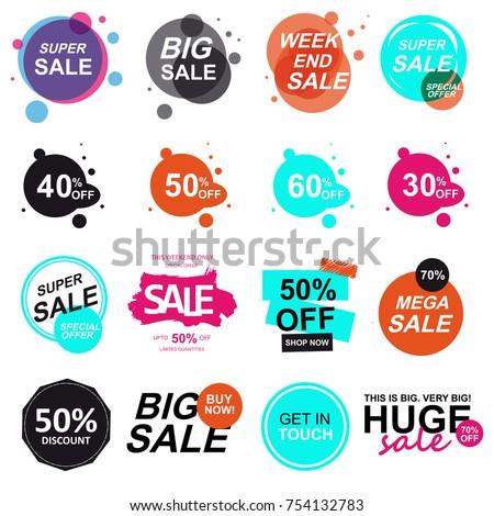 Set of flat design sale stickers