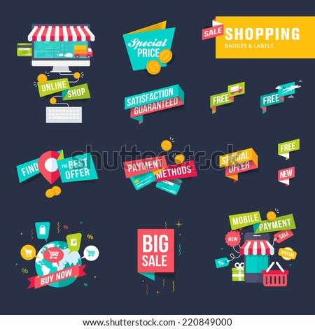 Set of flat design shopping badges and labels