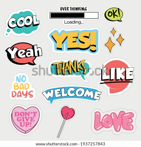 Set of flat design social media stickers. Isolated vector illustrations for online communication, networking, social media, web design, mobile message, chat, marketing material.
