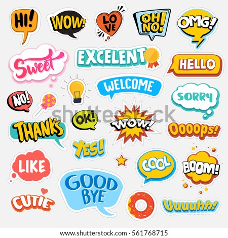 Set of flat design social network stickers. Isolated vector illustrations for online communication, networking, social media, web design, mobile message, chat,  marketing material. #561768715