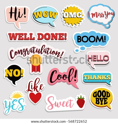 Set of flat design social network stickers with notes. Vector illustrations for online communication, networking, social media, chat, web design, mobile message, marketing material. #568722652