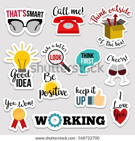 Set of flat design social network stickers with notes. Vector illustrations for online communication, networking, social media, chat, web design, mobile message, marketing material.