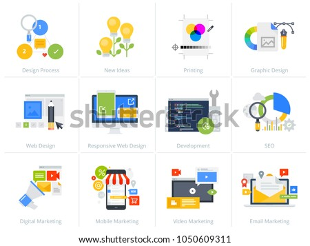 Set of flat design style concept icons isolated on white. Vector illustrations for web design and development, SEO, responsive web design, graphic design and creative process, internet marketing.