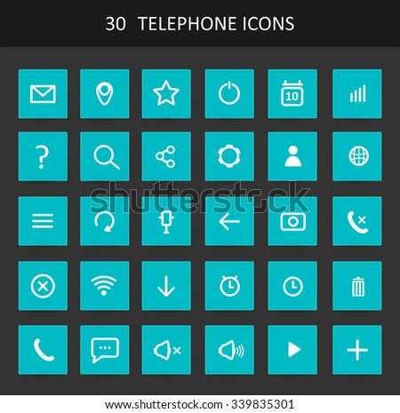 Set Of Flat Design Telephone Buttons And Icons - Shutterstock ID 339835301