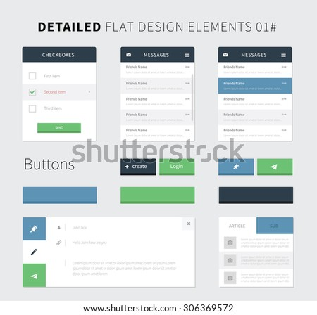Set of Flat design ui kit for webdesign / Style flat ui kit design elements set for web design. Vector inbox, email, buttons and checkbox for website presentation.