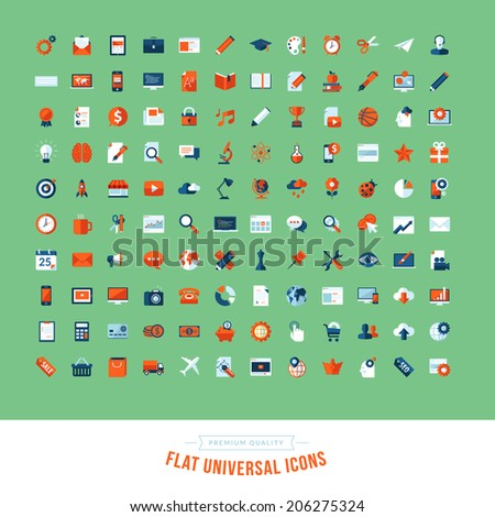 Set of flat design universal icons. Icons for business, marketing, education, technology, seo, media, communication, finance, shopping, e-commerce, nature, web and app development, design, sport.