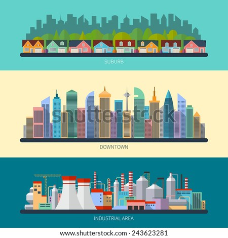 set of flat design urban...