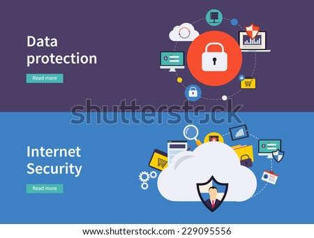 Set of flat design vector illustration concepts for data protection,and internet security. Concepts for web banners and printed materials.