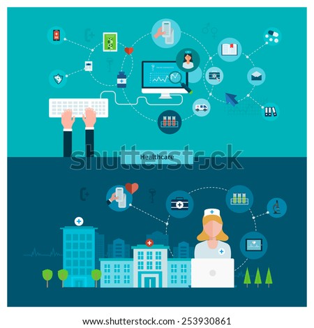 Set of flat design vector illustration concepts for health care, first aid, online medical services and support. Concept for banners and printed materials