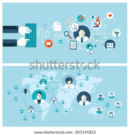 Set of flat design vector illustration concepts for online medical services and support. Concepts for web banners and printed materials.