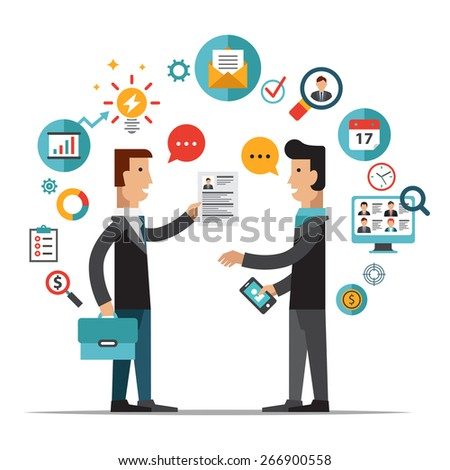 Set of flat design vector illustration concepts for searching employees, selecting best candidates, team building, recruitment, human resources management, headhunting, work of hr