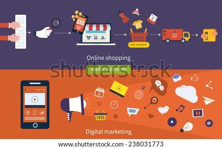 Set of flat design vector illustration concepts of online shopping, mobile marketing and digital marketing.