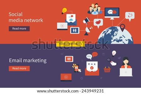 Set of flat design vector illustration concepts of online shopping, social media network, mobile marketing and digital marketing.