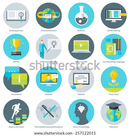 Set of flat design vector illustration icons for educational programs, distance education, online learning, studying process, professional training, video tutorials, webinars, isolated on white