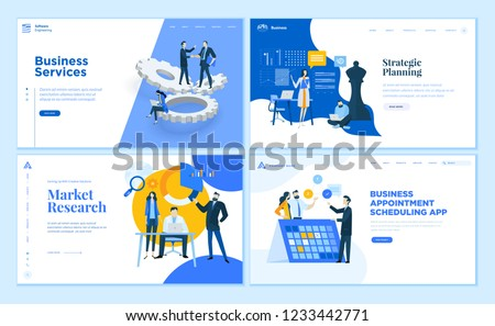 Set of flat design web page templates of business apps and services, strategic planning, market research . Modern vector illustration concepts for website and mobile website development.
