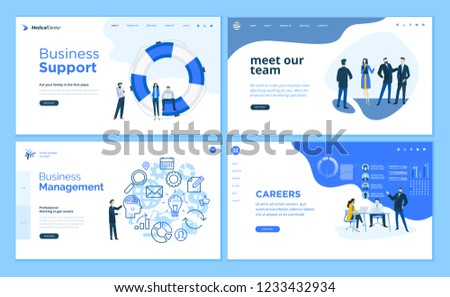 Set of flat design web page templates of business support, management, our team, career. Modern vector illustration concepts for website and mobile website development.