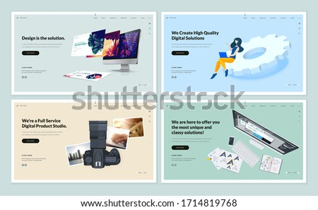 Set of flat design web page templates of corporate identity, digital solutions, photography, web design. Modern vector illustration concepts for website and mobile website development.
