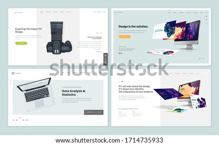 Set of flat design web page templates of graphic and web design, photo editor, data analysis and statistics. Modern vector illustration concepts for website and mobile website development.
