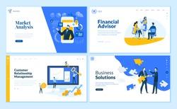 Set of flat design web page templates of market analysis, business solution, financial advisor, customer relationship management. Vector illustration concepts for website development.