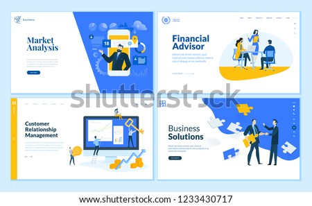 Set of flat design web page templates of market analysis, business solution, financial advisor, customer relationship management. Vector illustration concepts for website development.