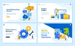 Set of flat design web page templates of social networking, business solutions, seo, project gallery. Modern vector illustration concepts for website and mobile website development.