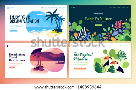 Set of flat design web page templates of summer vacation, travel destination, nature, tourism . Modern vector illustration concepts for website and mobile website development.