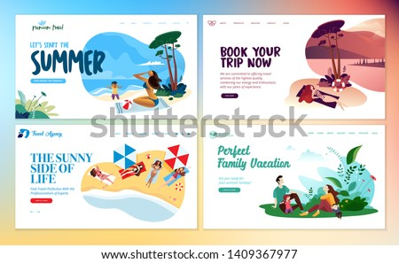 Set of flat design web page templates of summer vacation, travel destination, nature, tourism. Modern vector illustration concepts for website and mobile website development.