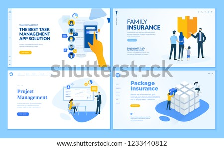 Set of flat design web page templates of task management, insurance, project management. Modern vector illustration concepts for website and mobile website development.