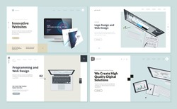 Set of flat design web page templates of web and logo design, programming, startup, business services. Modern vector illustration concepts for website and mobile website development.