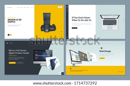 Set of flat design web page templates of web design and development, business app, consulting, photo gallery. Modern vector illustration concepts for website and mobile website development.