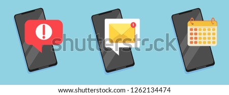 Set of flat email notification on smartphone. Sms icon or mail message reminder mailing on mobile phone or electronic newsletter. Concept of alert message mobile notification.