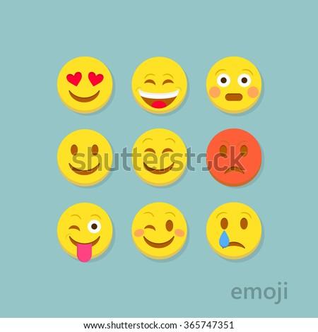 set of flat emoticons on